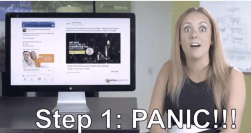 Molly Pittman beside desktop, panicking
