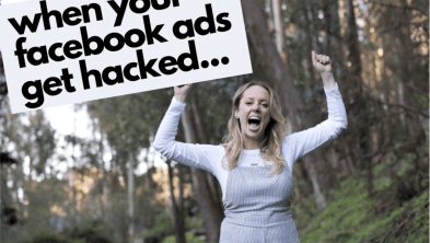 "blonde girl screaming ""when your facebook ads get hacked"""