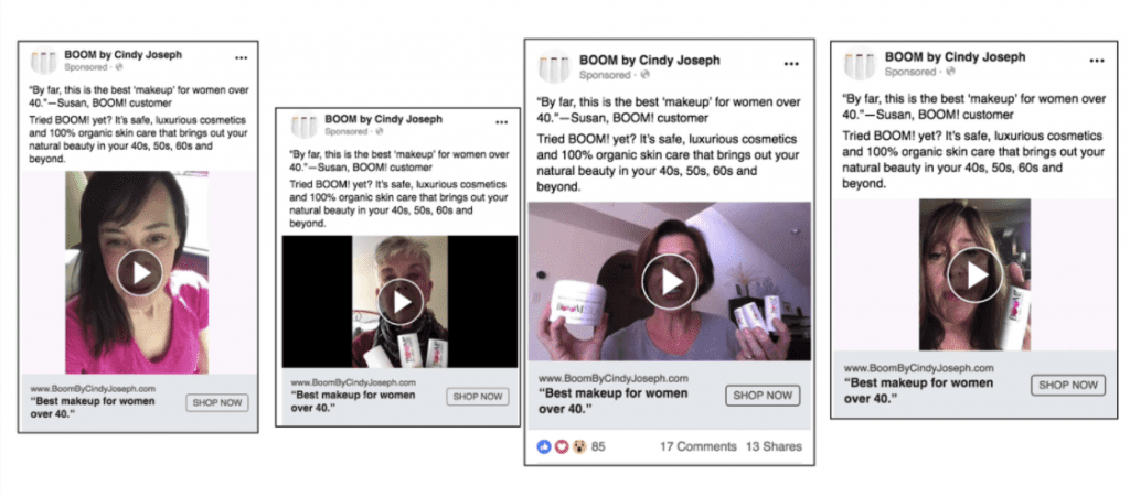 Facebook showing ads from BOOM! By Cindy Joseph that include user-generated content.
