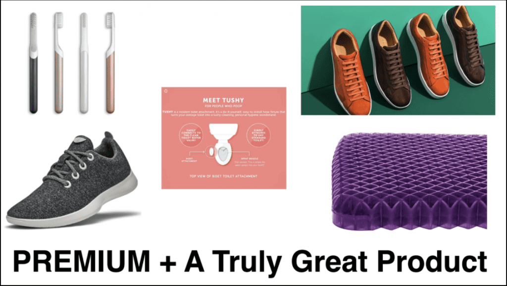 product images from Quip, Allbirds, Tushy, Purple Mattress and M.Gemi