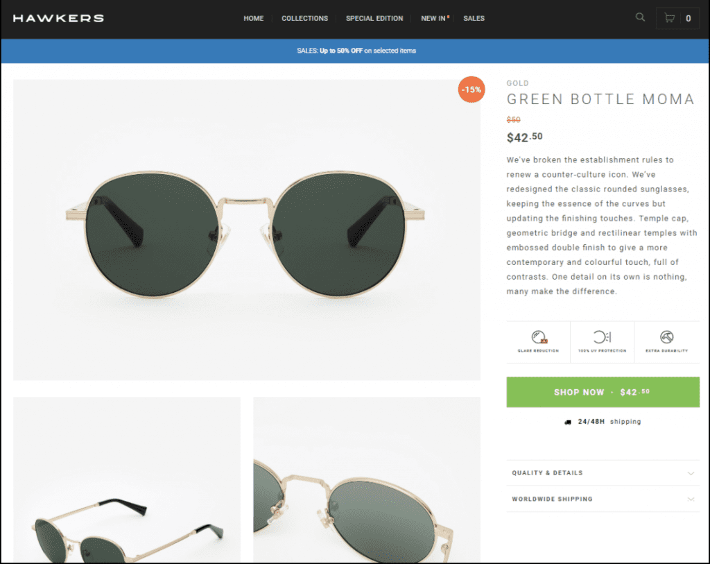 Example of a traditional ecommerce product page.