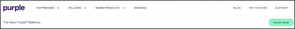 Example of a website header from Purple Mattress.