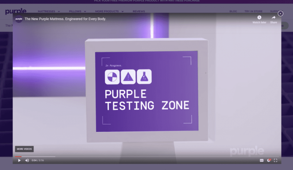 Example of a brand showcasing videos in their product carousel, from Purple Mattress.