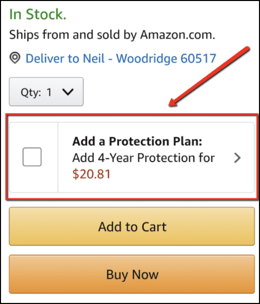 Example of a brand offering an upsell in their buy box.