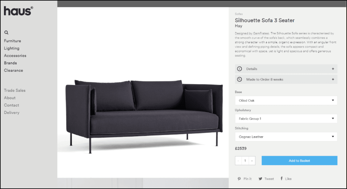 Example of including an add to cart button above the fold.