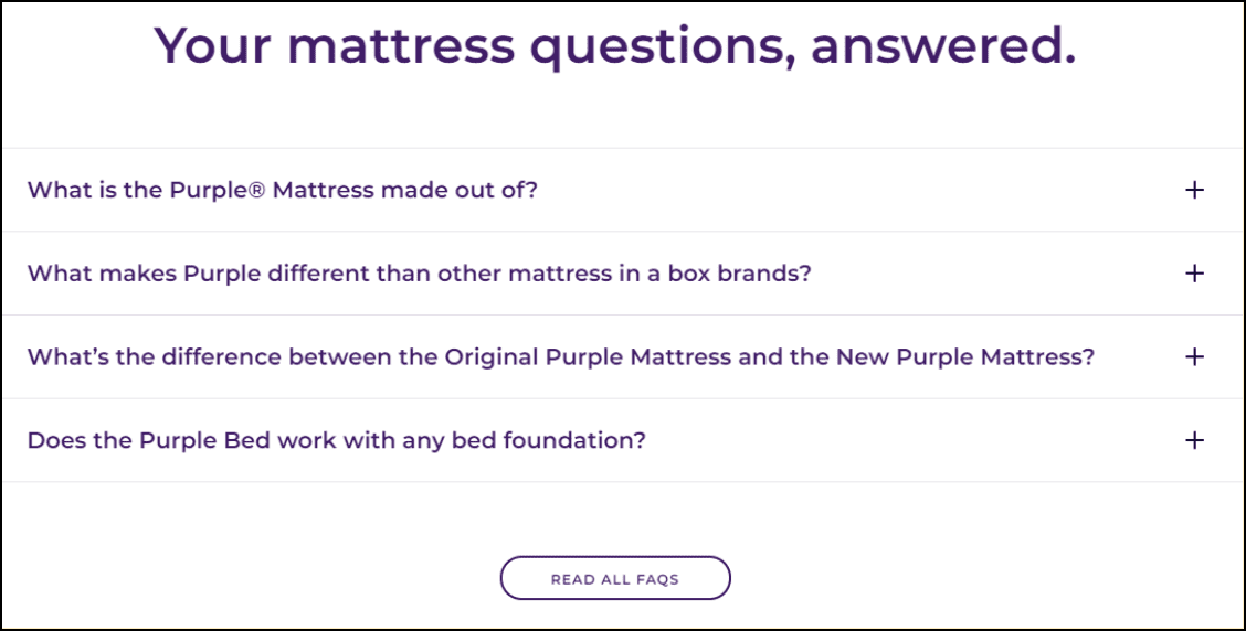 Example of frequently asked question website section.