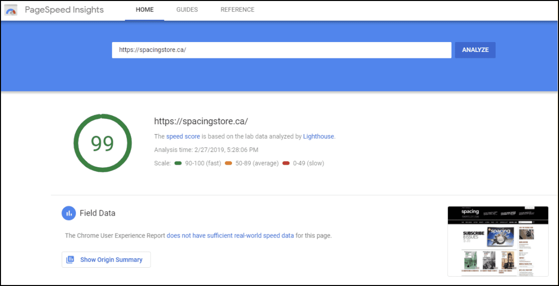 Example of a Google page speed test.