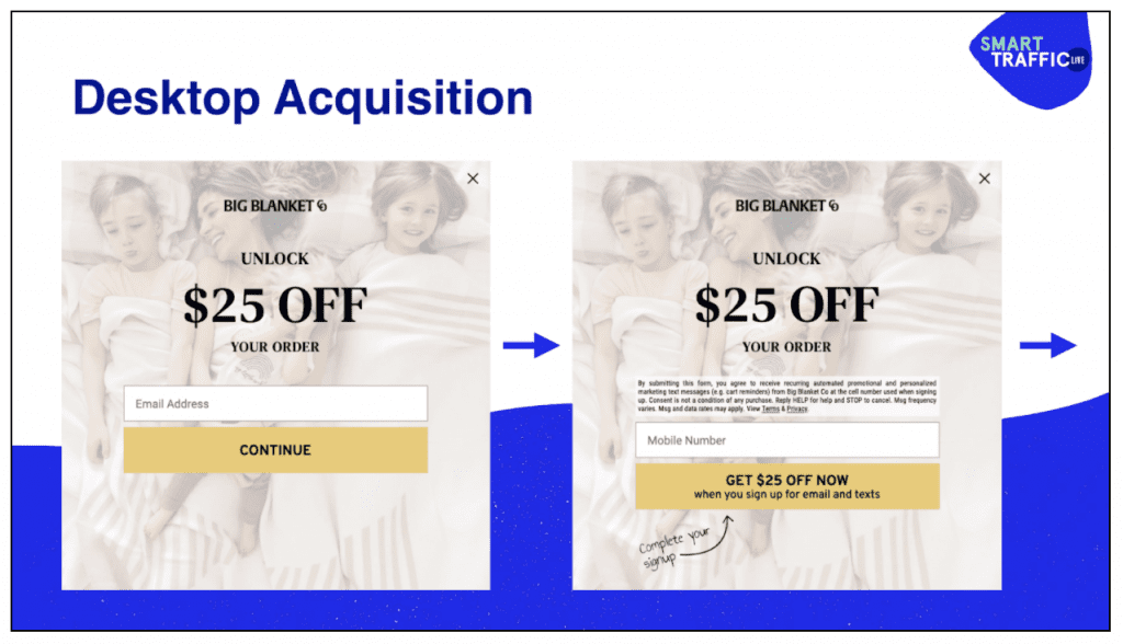 Example creative for SMS acquisition on desktop.