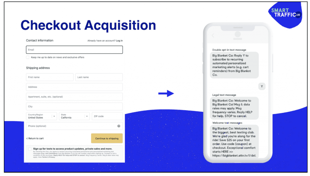 Example of SMS acquisition in Shopify checkout.