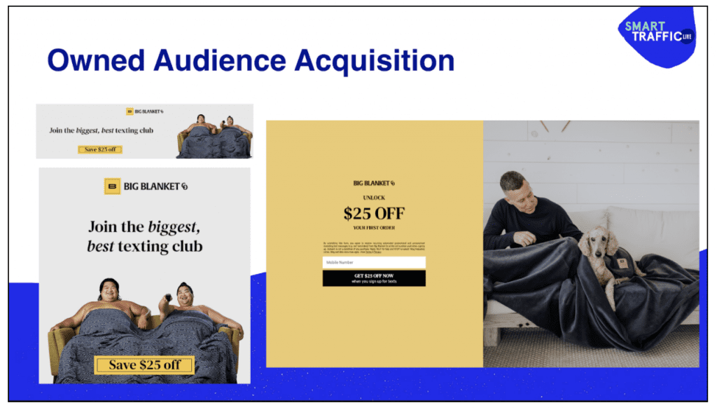 Pop-ups and banners from owned audience acquisition for SMS.