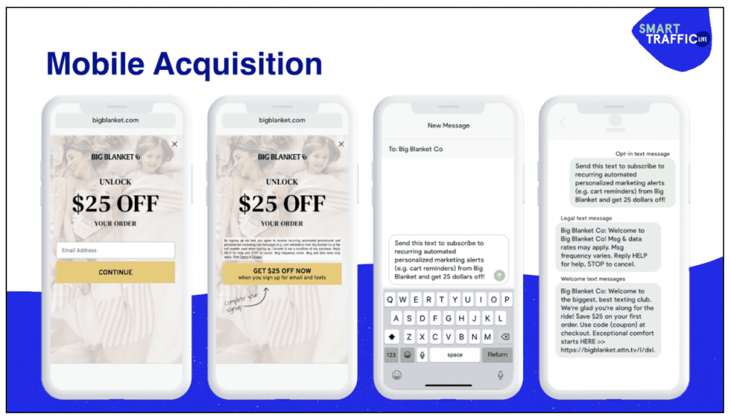 SMS pop-ups and messages for mobile acquisition.
