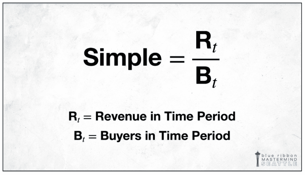 The simple equation for calculating Lifetime Customer Value.